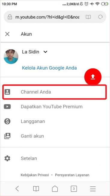 Pilih opsi Your channel.